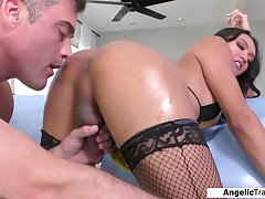 Busty latina shemale Andrea Zhay anal fucked and asslicked